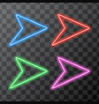 isolated colored neon arrows on a black vector image vector image