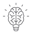light bulb brain thin line icon school education vector image vector image