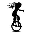 little girl on a unicycle vector image