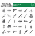 military glyph icon set war and army symbols