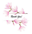 natural greeting card with pink magnolia flowers vector image vector image