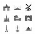 nine flat landmark icons vector image
