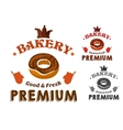 Pastry emblem with glazed doughnut and text vector image