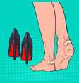 pop art woman feet with patch on ankle vector image