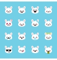 rabbit emoticons collection Cute emoji set vector image
