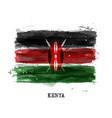 realistic watercolor painting flag kenya vector image