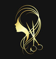 scissors and a girl gold color vector image vector image