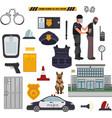 set cartoon police tools police security vector image