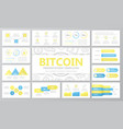 set of digital money and bitcoin cryptocurrency vector image