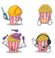 set of popcorn character with automotive silent vector image vector image