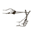 slingshot in hands engraving vector image