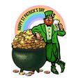 st patricks day poster cartoon leprechaun vector image vector image