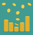 stacks gold coin icon flying falling down vector image vector image