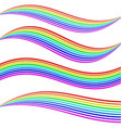 Striped rainbow waves vector image vector image