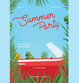 summer party poster trendy vertical placard with vector image vector image