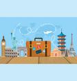 travel briefcase with fun destination tourist vector image vector image