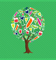 tree with drinking glasses for fun party concept vector image
