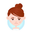 unhappy teen girl struggling acne vector image
