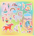 unicorn multicolor stickers with rainbow unicorn vector image vector image
