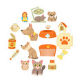veterinary clinic items icons set cartoon style vector image vector image