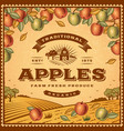 Vintage apples label vector image vector image
