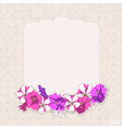Vintage card with flowers petunias vector image