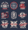 vintage labels set athletic sport typography for vector image vector image