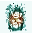 Watercolor Monkeys in the Jungle vector image vector image