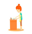 woman is cooking in the kitchen mother is cooking vector image