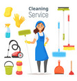cleaning service woman character vector image