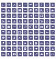 100 sea life icons set grunge sapphire vector image vector image