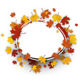 Autumn oval background with maple leaves vector image vector image