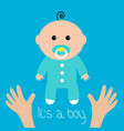 baby shower card its a boy two human hands mother vector image vector image