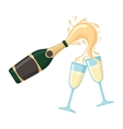 Bottle of champagne with glasses vector image