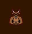 bull body builder mascot logo cow mascot logo vector image