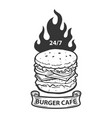 burger cafe emblem template hamburger with fire vector image