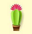 cactus in paper art style craft vector image vector image