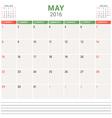 Calendar Planner 2016 Flat Design Template May vector image