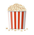 carton bowl full of popcorn vector image vector image