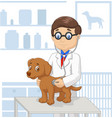 cartoon veterinary examining dog vector image vector image