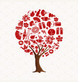 chinese tree concept with asian culture icon set vector image