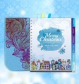Christmas background Notebook Decorative city vector image vector image