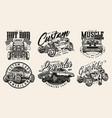 custom american cars vintage emblems vector image vector image