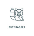 cute badger line icon cute badger outline vector image