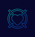 dating app linear icon heart and crosshair vector image vector image
