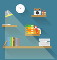 Different objects on book shelves vector image