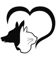 Dog and cat with heart vector image vector image