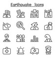 earthquake icon set in thin line style vector image
