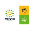 eco leaf sun logo design template eco sun logo vector image