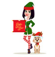elf woman holding scroll and cute dog sitting near vector image vector image